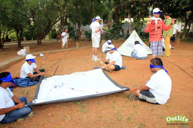 Outbound Training - Blind folded Tent Pitching in Pune