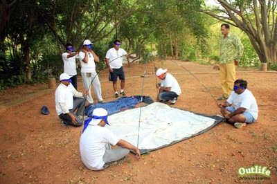 Outbound Training - Blind Folded Tent Pitching